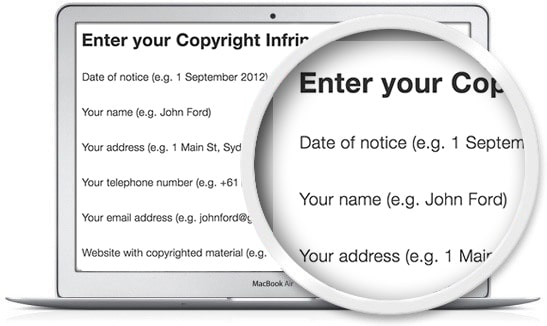 the Legal123 copyright infringement notice template is quick and easy