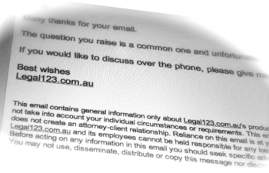 the Legal123 package includes an email disclaimer