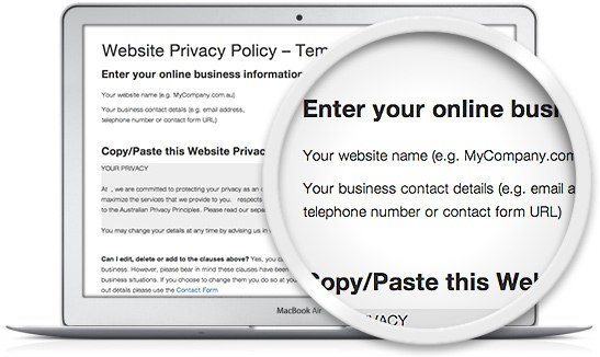 image of the Legal123 website privacy policy template