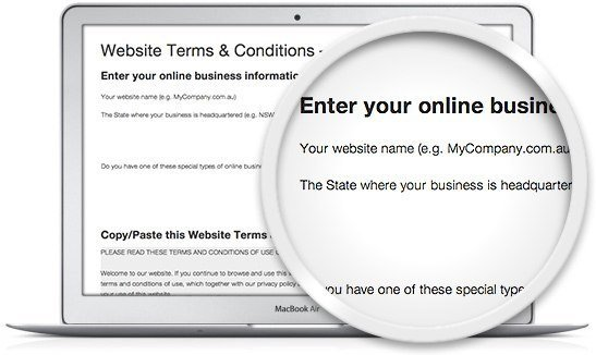 image of the Legal123 website terms and conditions template