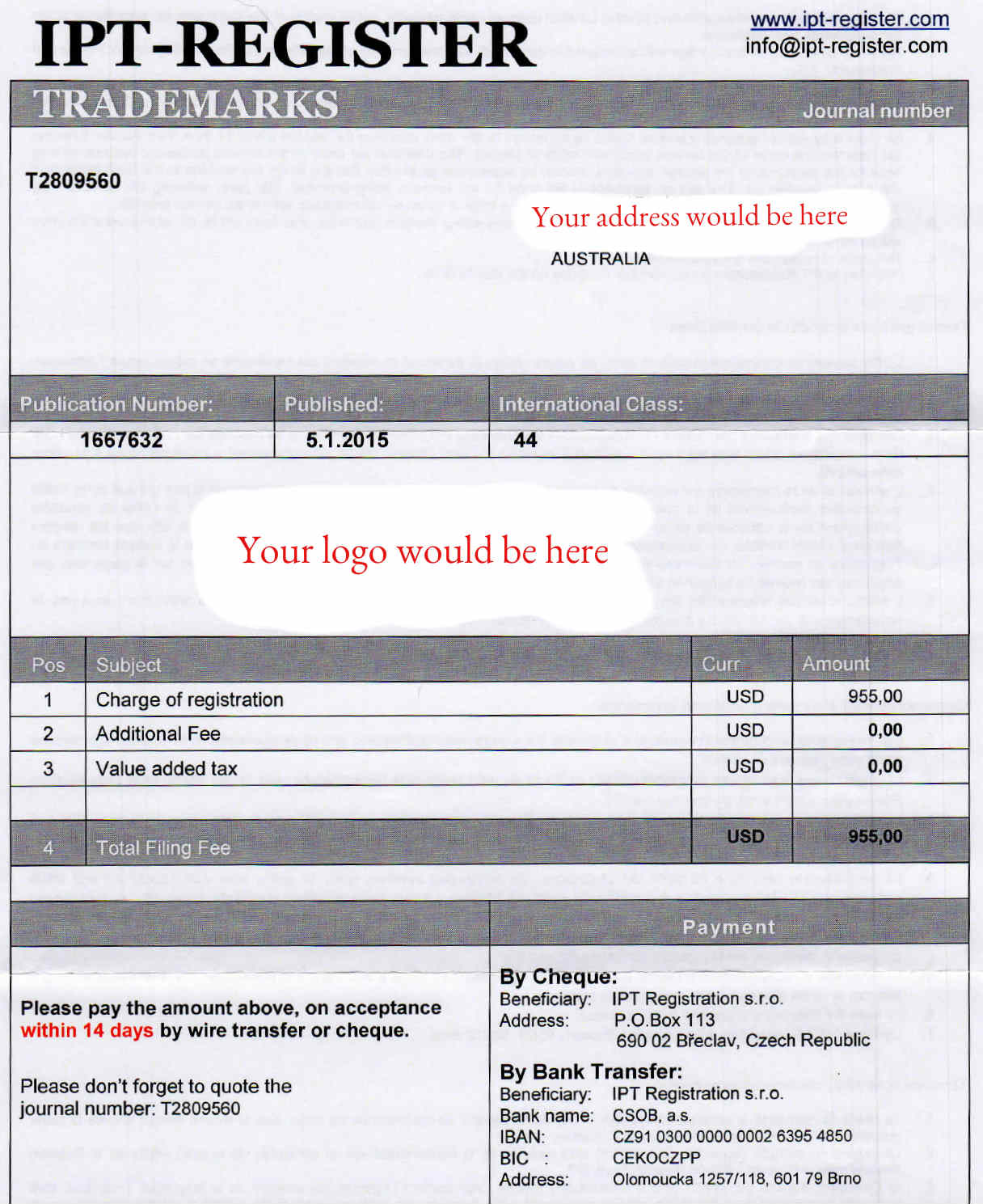 image of trademark registration scam example