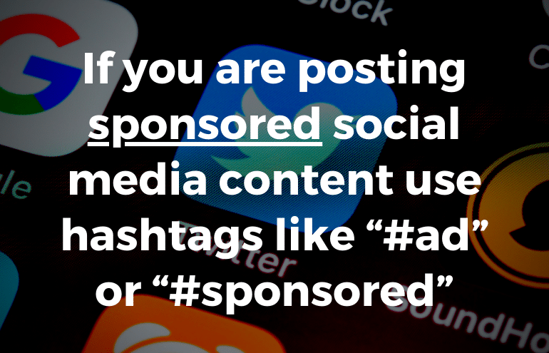image of social media hashtags to use with sponsored content